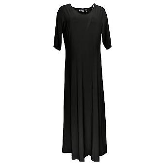 Attitudes by Renee Dress Regular Solid Maxi Black A375406