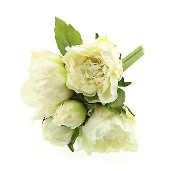 White Artificial Fabric Short Stem Peony Bouquet