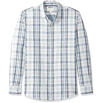 Goodthreads الرجال & apos;ق القياسية صالح طويل الأكمام قميص مزدوج الوجه, الأزرق الفاتح منقوشة ...