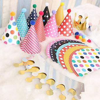 11pcs/set Birthday Party Hats - Cute Handmade Cap Crown Shower