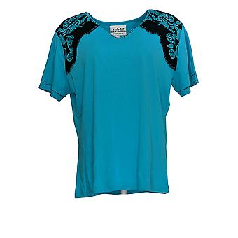 Beck in the Saddle Women's Top Embroidment Short Sleeve Blue