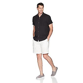 28 Palms Men's Relaxed-Fit 100% Silk Camp Shirt, Black, X-Small