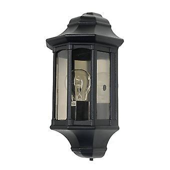 1 Lichte Buitenmuur Half Lantern Light Black IP44, E27
