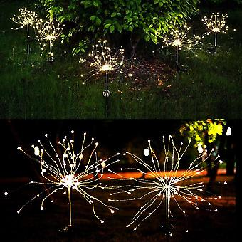 Solar Powered Outdoor Grass Fireworks Light Lamp For Garden Lawn