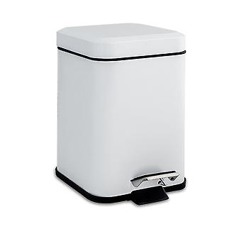 Square Steel Bathroom Pedal Bin with Removable Inner Bucket, 3 Litres - White