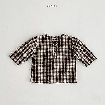 Automne Nouveau-né Baby Cotton Long Sleeve Tops Plaid Shirts Vêtements 0-24m