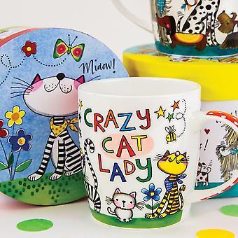 Crazy Cat Lady Porcelain Mug in a Colourful Gift Box