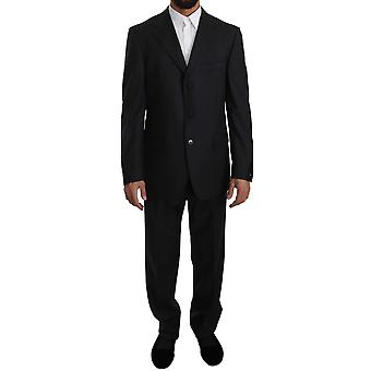 Z ZEGNA Gray Striped Two Piece 3 Button Wool Suit