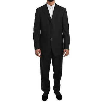 Z ZEGNA Gray Striped Comfort Two Piece 3 Button Wool Suit