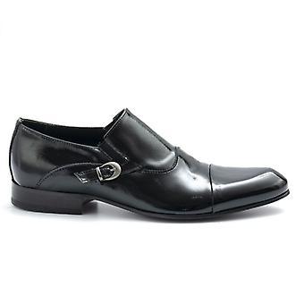 Black Eveet Buckle Slipper in Glossy Leather