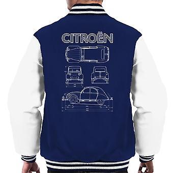 Citroen 2CV valkoinen kaavio näkymät miesten varsity takki
