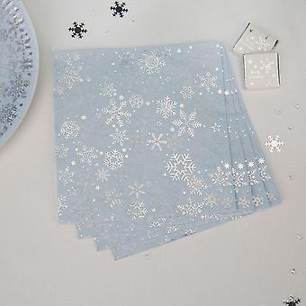 Iridescent Christmas Paper Party Snowflake Napkins x 16