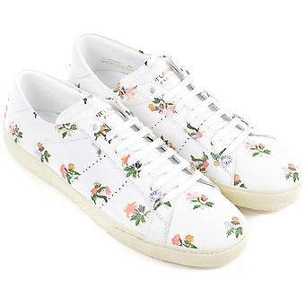 Saint Laurent Damen's Sneakers aus weißem Leder mit Blumenmuster