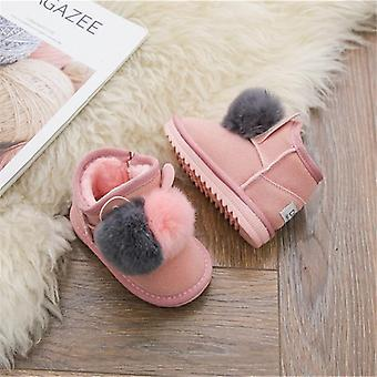 Winter Baby Rabbit Hair Ball Infant Cotton Shoes