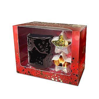 Heart & Home Wax Melt Warmer & 2 Star Soy Melts Christmas Gift Set