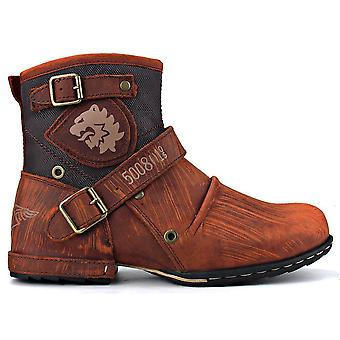 Genuine Leather High-quality Cowboy Chukka Boots, Zipper-up Motorcycle Boots