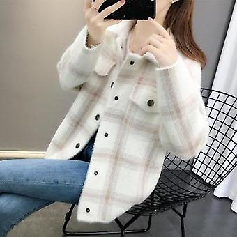 Spring/autumn Korean Loose Plaid Sweater Cardigan Female Casual Single-breasted