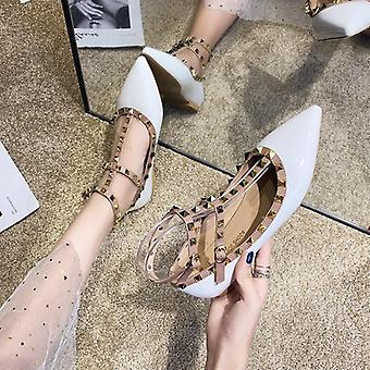 Ladies Rivets Sandals Back Strap/pointy Toe Sandals For Dress Office Shoes