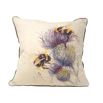 Jane Bannon Bees On Thistle Feather Filled Cushion