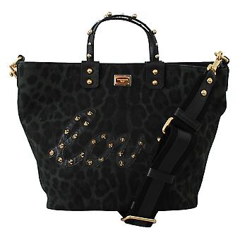 Green Leopard Love Patch Studs Shopping Tote Bag