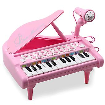 Amy&benton piano leksak för 1 2 3 4 år gamla flickor, 24 nycklar rosa elektroniska pedagogiska musikaliska instru