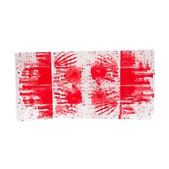 Tafelkleed Bloedhanden 137 X 274 Cm Wit / Rood