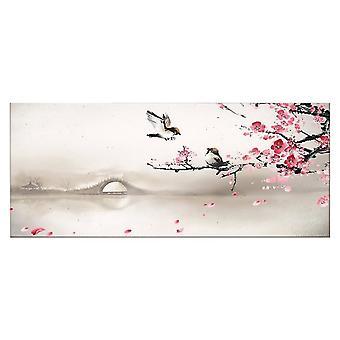 Buntes Vogelpaneel aus Polyester, Holz, L70xP3xA100 cm