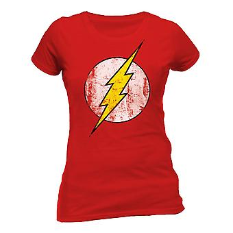 The Flash Womens/Ladies Distressed Logo Fitted T-Shirt