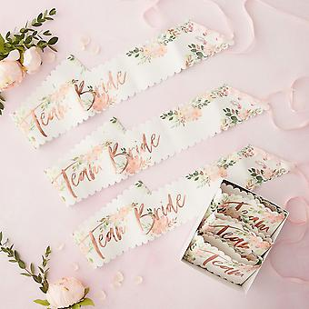 Team Bride Floral Sashes x 6 Hen Party