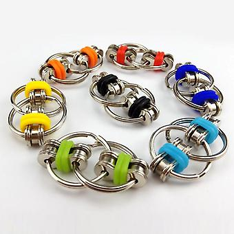 Relief Bike Chain Fidget Toy For Autism Set, Anti Stress, Spinner Key Metal