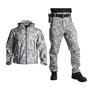 Outdoor Tactical Military Jacket, Men Softshell Fleece, Camouflage Waterproof+