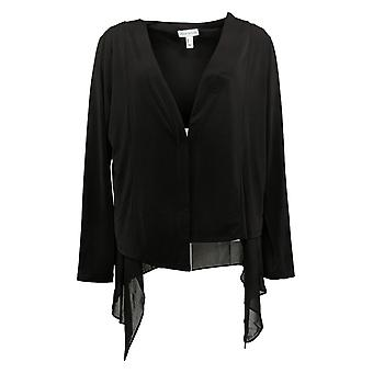 Susan Graver Women's Liquid Knit Open-Front Vest Zwart A387754