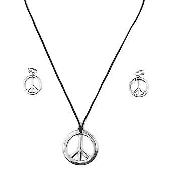 Volwassen plastic zilveren hippie ketting en oorbellen