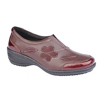 Mod Comfys Nancy Ladies Leather Slip On Shoes Burgundy
