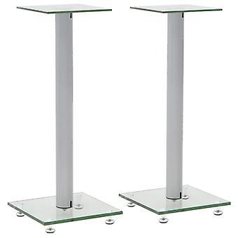 design colonna altoparlanti vidaXL 2 pezzi. argento vetro temperato