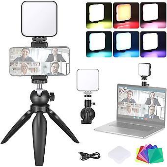 HanFei Videokonferenz Beleuchtungsset mit Saugnapf, Stativ, Farbfilter und Telefonhalter für
