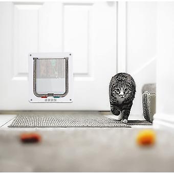 Medium Cat Flap Door With 4 Way Lock, Magnetic Pet Door Kit White