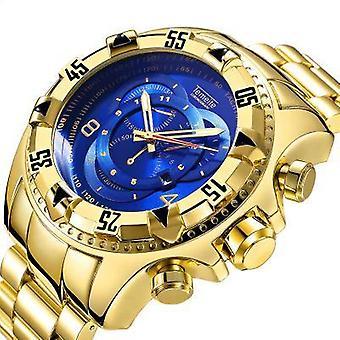 Gold Big Dial Wodoodporne męskie zegarki kwarcowe