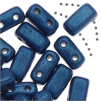 CzechMates Glass, 2-Hole Rectangle Brick Beads 6x3mm, 1 Strand, Metallic Blue Suede