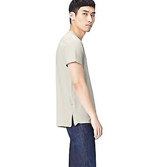 Amazon brand - find. Short Sleeve T-Shirt with Men's Zip, Ivory (Stone), S, Label: S