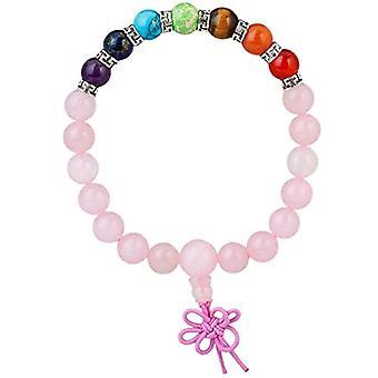 KYEYGWO 21 Mala Bracelet with Crystal Beads Chakra, unisex, Reiki Stretch and Alloy, color: Pink quartz (7 stone chakra with Ref. 0715444069277