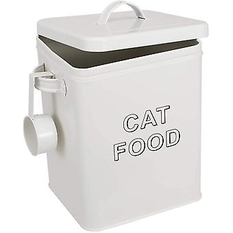 FengChun Cat Treat and Food Storage Tin with Lid - Cream Powder-Coated Carbon Steel - Tight Fitting