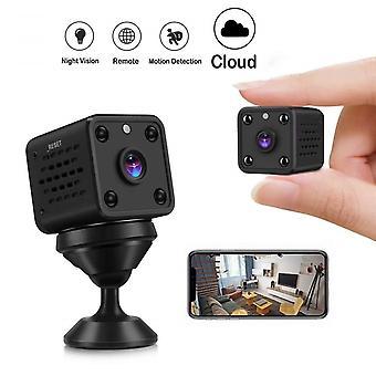 Mini 1080p HD Surveillance Camera - Long Battery Life - Small Indoor WiFi Security Camera - With Motion Sensor - Night Vision Camera (Black)