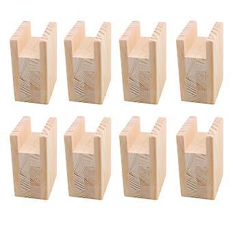 8Pcs Pine Wood 10x10x4cm Furniture Leg Riser Cabinet Table Feet Lifter