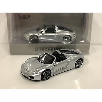 Minichamps 870062130 Porsche 918 Spyder 2015 Silver 1:87 Scale