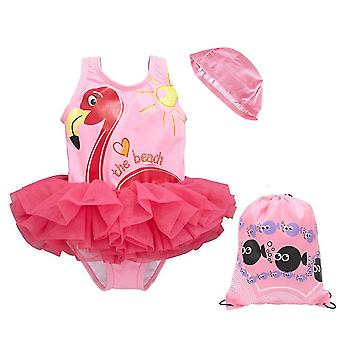 Summer beach girls¡¯ swimsuit contain swimming cap, for 1-8 years old girls(90-100cm)