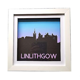 Linlithgow Palace & St Michael's Church Silhouette Blue & Pink by Sweet Pea Designs