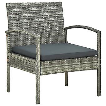 vidaXL Garden Chair with Pillow Poly Rattan Grey