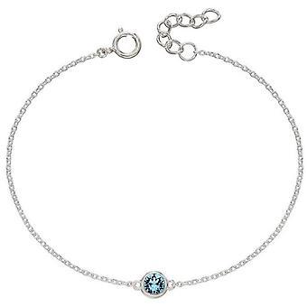 Bracelet Pierre de Naissance Début Mars - Argent/Aigue-marine