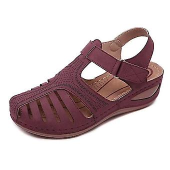 Women Shoes Sandals With Pu Buckle - Ladies Retro Sewing Hollow Out Flat